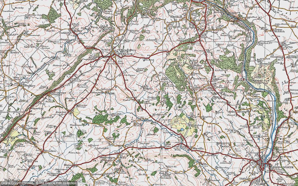 Old Map of Atterley, 1921 in 1921