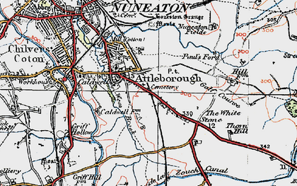 Old map of Attleborough in 1920