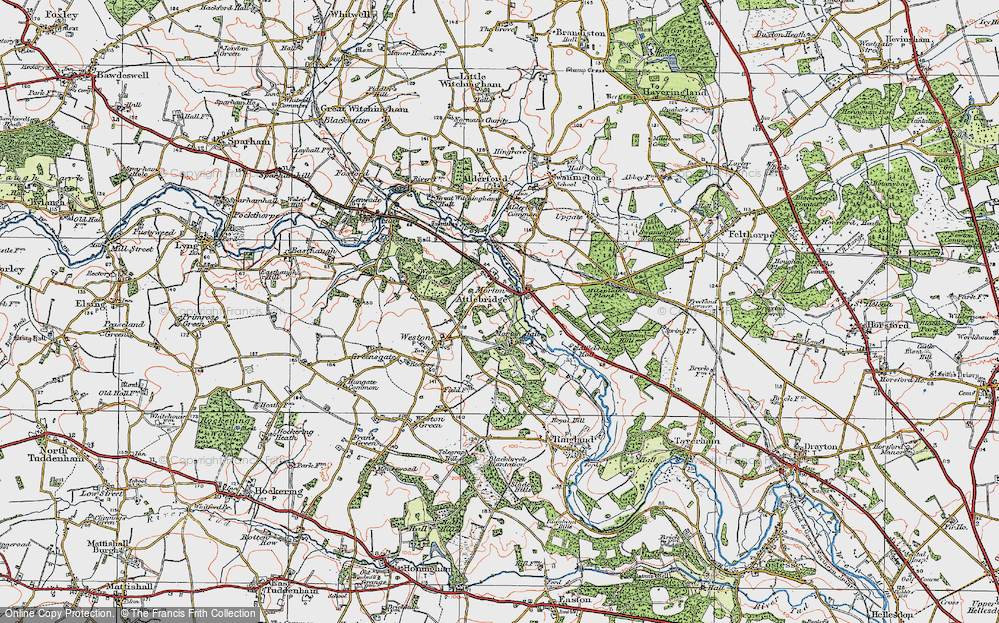 Old Map of Historic Map covering Attlebridge Hills in 1922