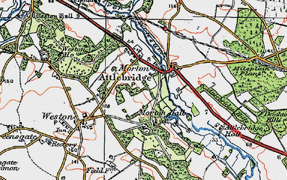 Old map of Attlebridge Hills in 1922