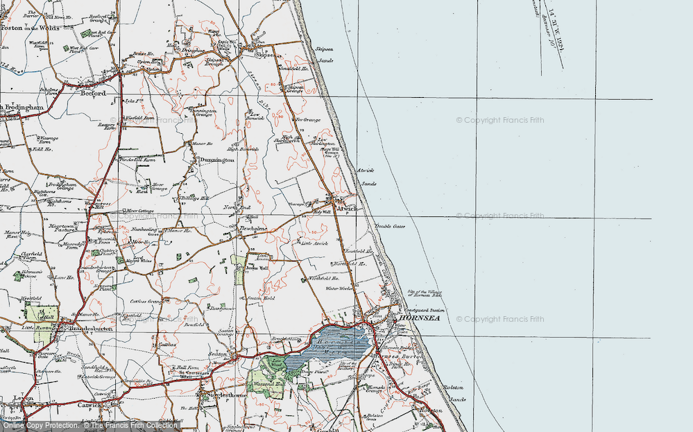 Old Map of Historic Map covering Atwick Sands in 1924
