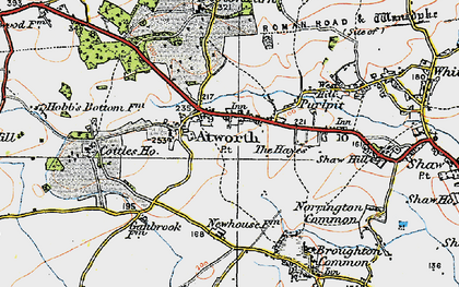 Old map of Atworth in 1919