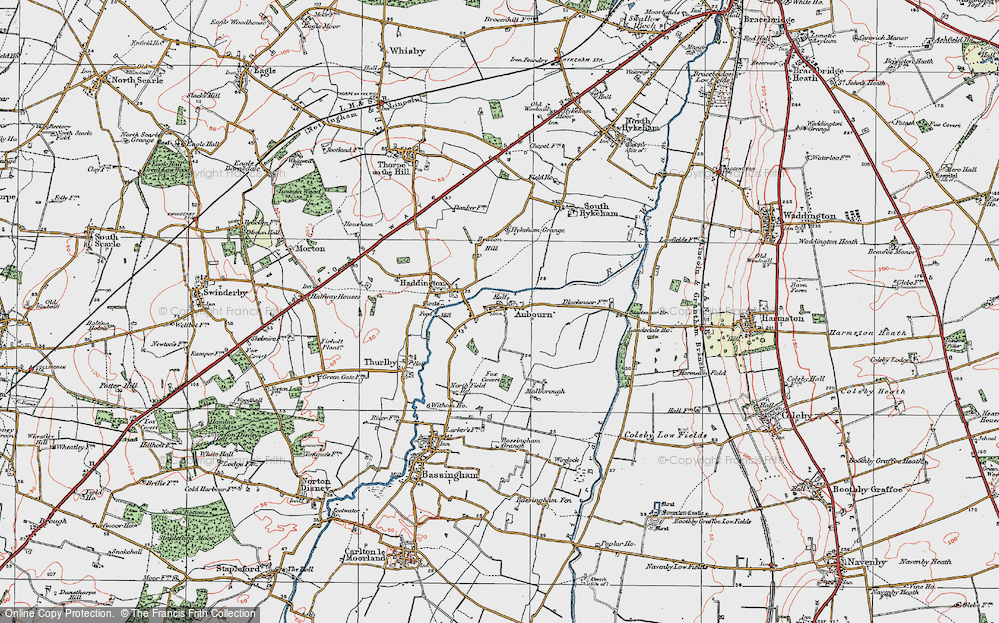 Old Map of Aubourn, 1923 in 1923