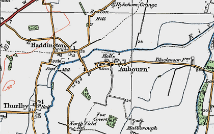 Old map of Aubourn in 1923