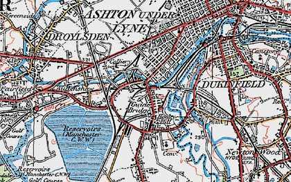 Old map of Audenshaw Resrs in 1924