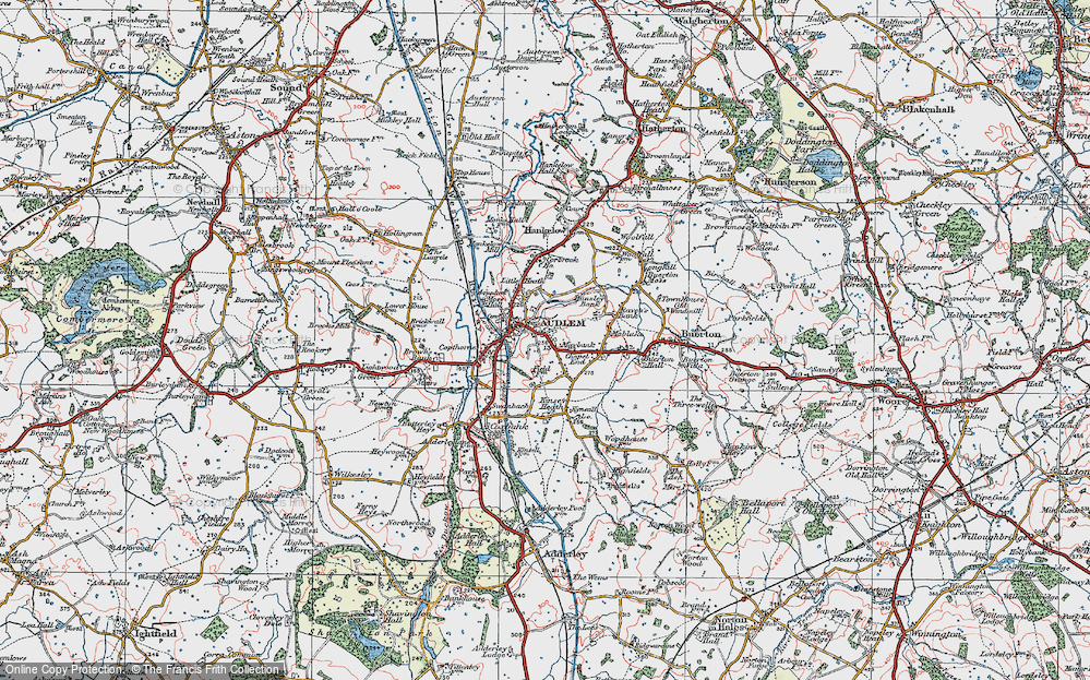 Old Map of Audlem, 1921 in 1921