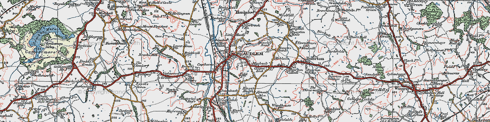 Old map of Audlem in 1921
