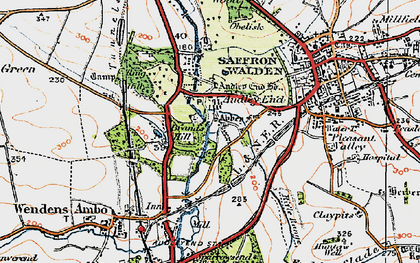 Old map of Audley End in 1920