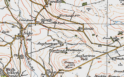 Old map of Aughertree Fell in 1925