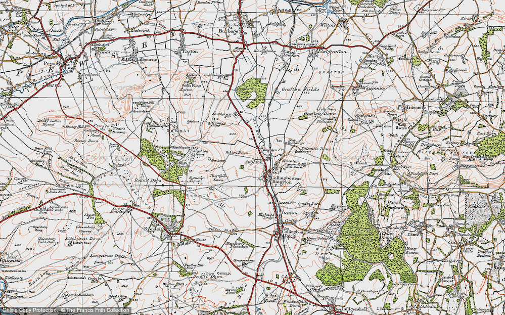 Old Map of Historic Map covering Aughton Down in 1919