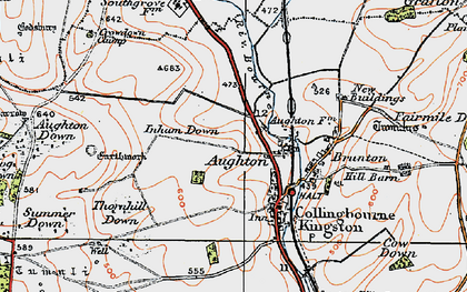 Old map of Aughton in 1919