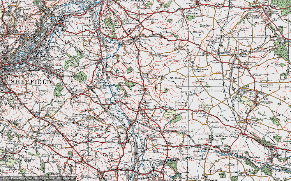 Old Map of Aughton, 1923 in 1923