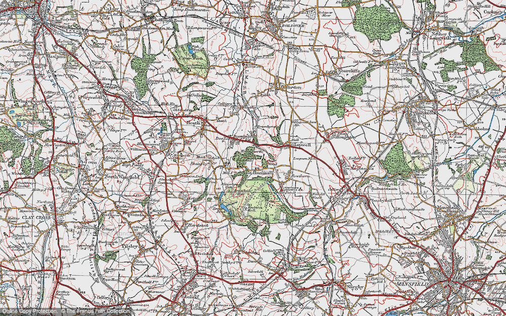 Old Map of Ault Hucknall, 1923 in 1923