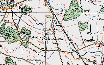 Old map of Aunby in 1922