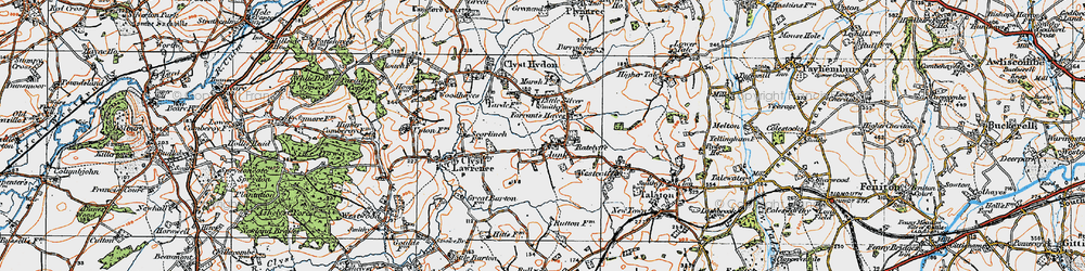 Old map of Aunk in 1919