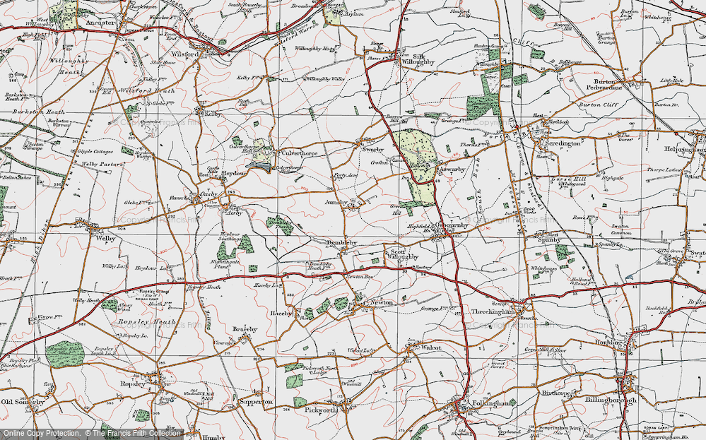 Old Map of Aunsby, 1922 in 1922