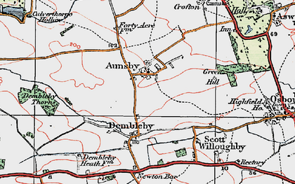 Old map of Aunsby in 1922