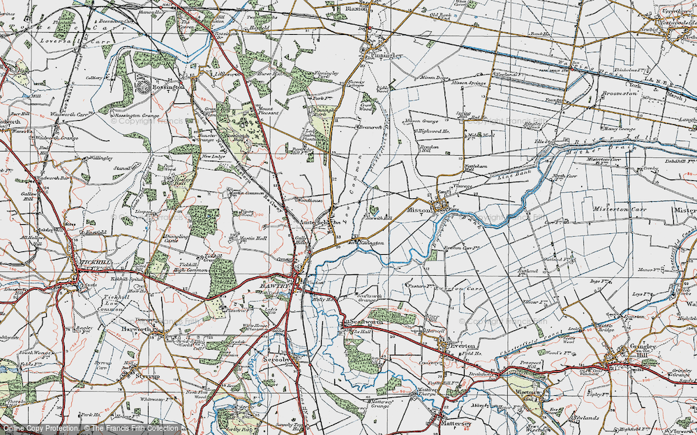 Old Map of Historic Map covering Austerfield Drain in 1923