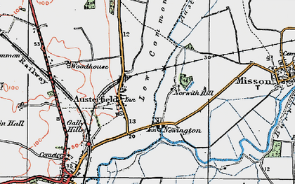 Old map of Austerfield Drain in 1923