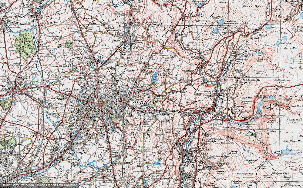 Old Map of Austerlands, 1924 in 1924