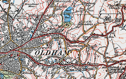Old map of Austerlands in 1924