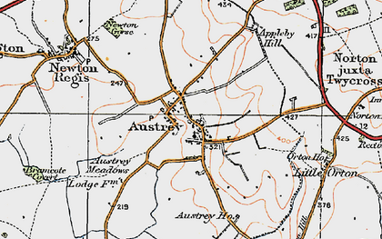 Old map of Austrey in 1921