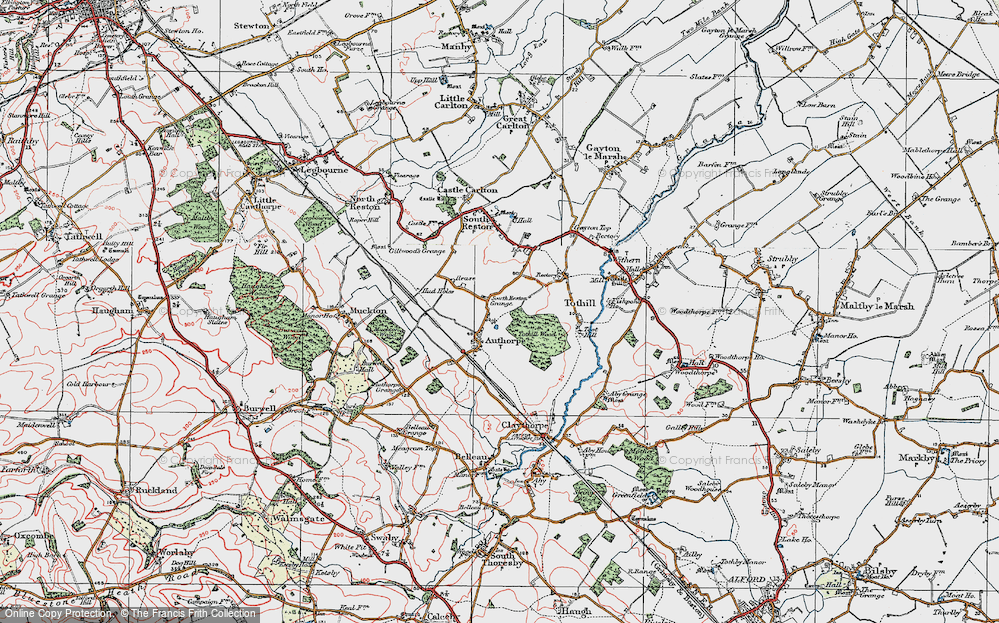 Old Map of Authorpe, 1923 in 1923