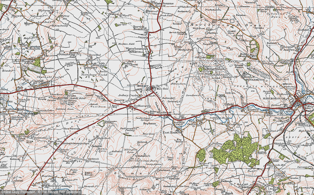 Old Map of Historic Map covering Avebury Down in 1919