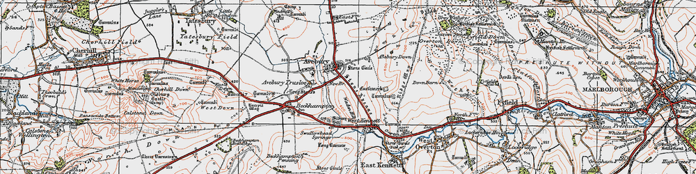 Old map of Avebury in 1919