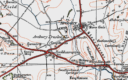 Old map of Avebury Trusloe in 1919