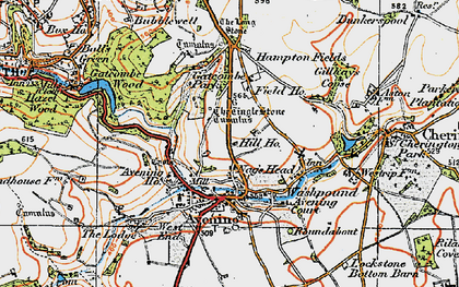 Old map of Avening in 1919