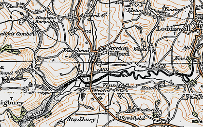 Old map of Aveton Gifford in 1919