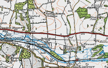 Old map of Avington in 1919