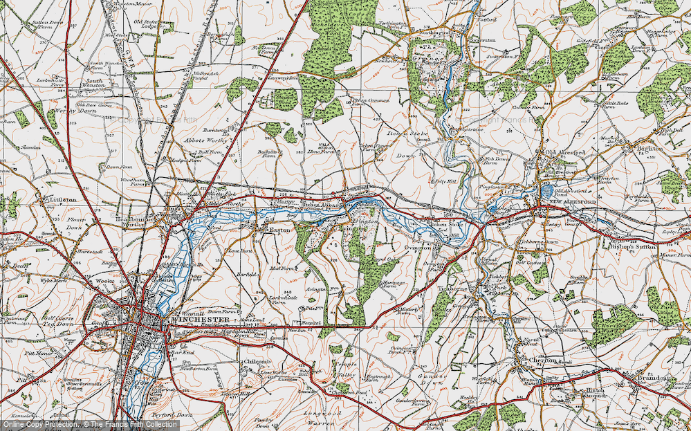 Old Map of Historic Map covering Avington Park in 1919