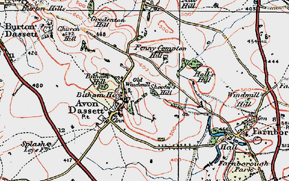 Old map of Avon Dassett in 1919