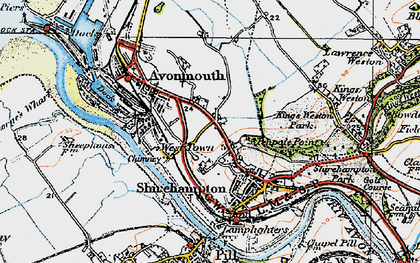 Old map of Avonmouth in 1919