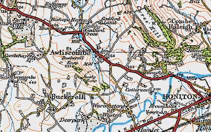 Old map of Awliscombe in 1919