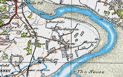 Old map of Awre in 1919