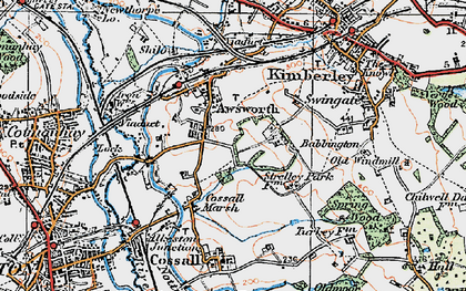 Old map of Awsworth in 1921