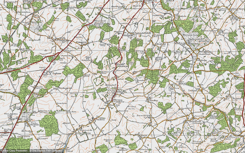 Old Map of Axford, 1919 in 1919