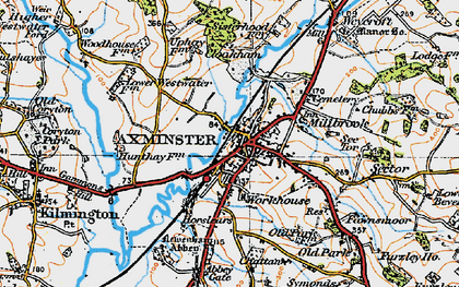 Old map of Axminster in 1919