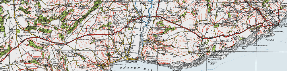Old map of Axmouth in 1919