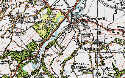 Old map of Axwell Park in 1925