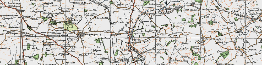 Old map of Aycliffe Village in 1925