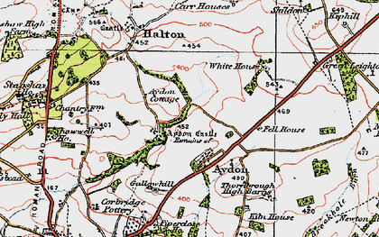 Old map of Aydon Castle in 1925