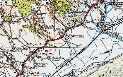 Old map of Aylburton in 1919