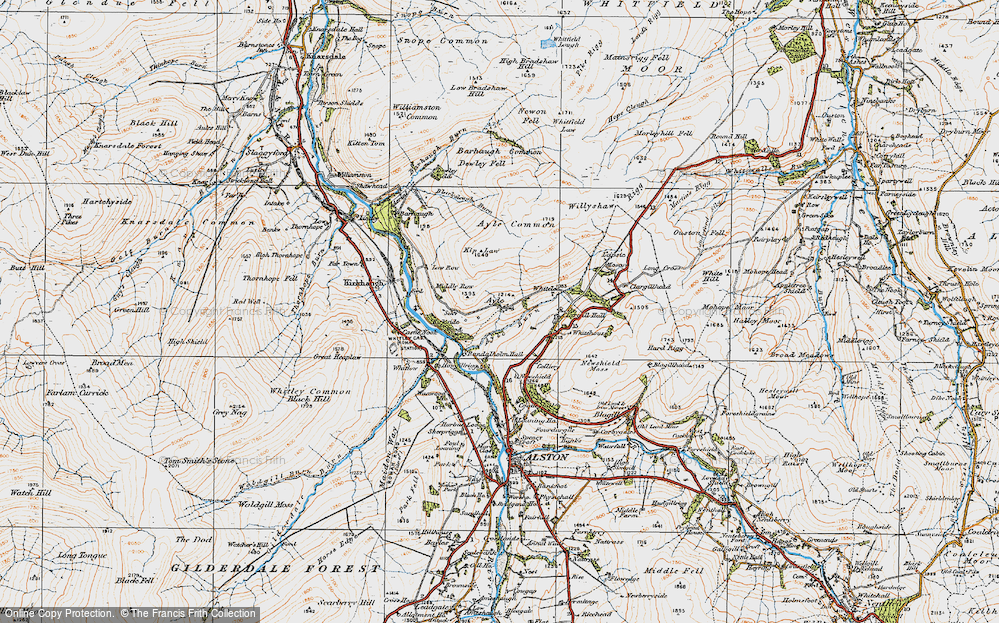 Old Map of Historic Map covering Ayle Burn in 1925
