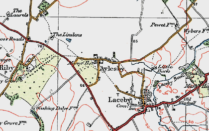 Old map of Aylesby in 1923