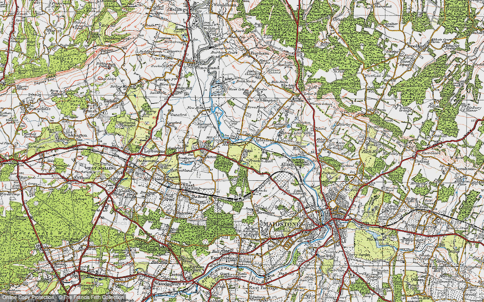 Old Map of Aylesford, 1921 in 1921