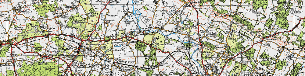 Old map of Aylesford in 1921
